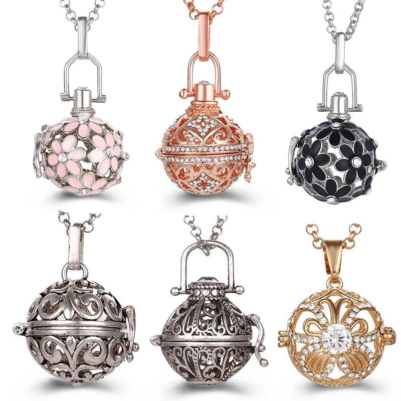 Винтажное ожерелье с медальоном в виде музыкального колокольчика, шар ангела, ожерелье для беременных, ароматерапия, распылитель эфирных масел, аксессуары