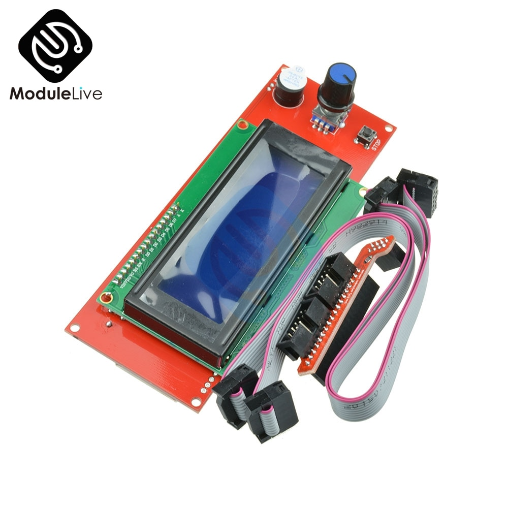 Pantalla LCD 3D impresora Reprap controlador inteligente rampas Reprap 1,4 2004LCD Control con adaptador Mendel