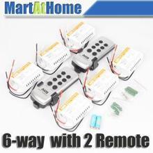 Lot de 10 commutateurs de télécommande   Sans fil ARD 6 voies, interrupteur de lumière de télécommande 220v (2 télécommandes) # BK108 @ SD