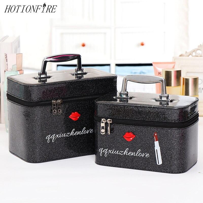 Bolso cosmético profesional para mujer, Maleta portátil de gran capacidad, caja estuche cosméticos de almacenamiento de belleza, bolso de maquillaje encantador impermeable