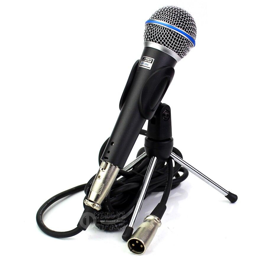 Bt58a profissional handheld vocal dinâmico microfone suporte de desktop mic titular com xlr cabo áudio para beta58a dj mixer karaoke
