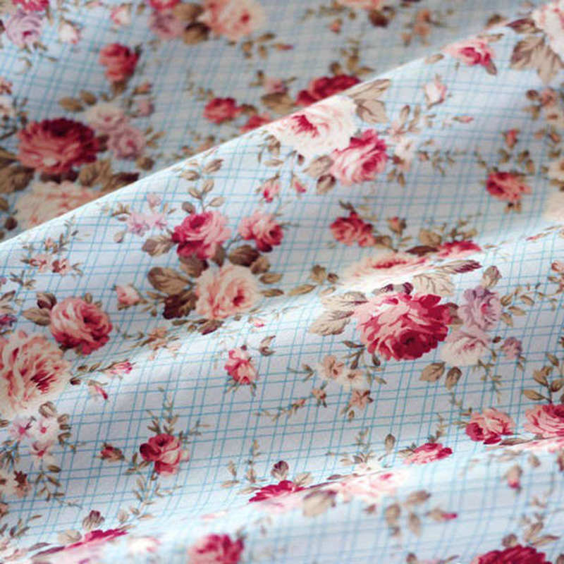 Caliente 150CM de ancho azul Floral 100% de algodón tela popelina para Patchwork tejido de costura