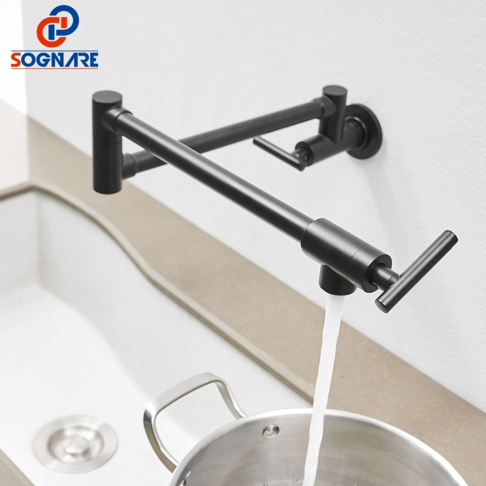 Black Kitchen Faucet Wall Pot Filler Tap Double Joint Spout Folding Stretchable Swing Arm Sink Mixer Tap 360 Degree Rotation brushed stainless steel pot filler faucet lead free with dual joint swing arm and aerator surface deck mount kitchen mixer tap