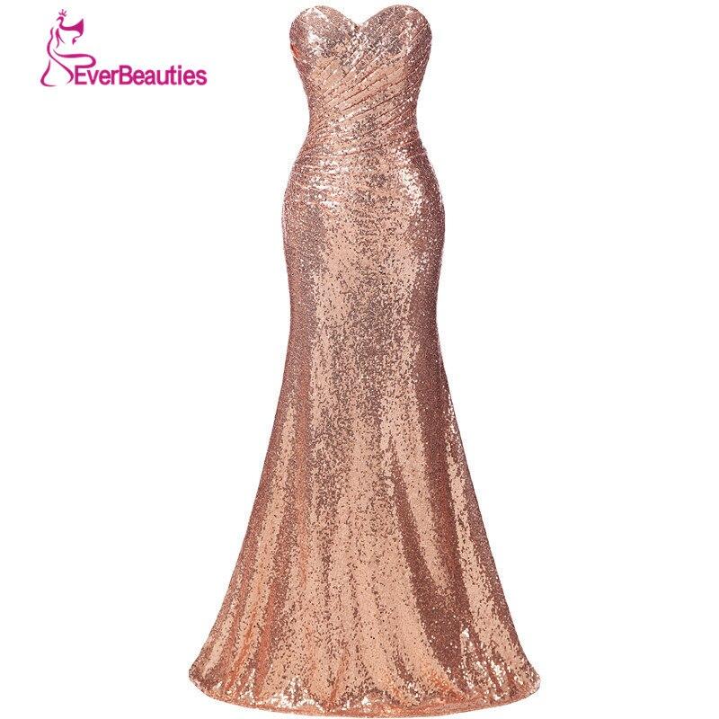Ouro lantejoulas vestido de dama de honra longo mais tamanho champanhe casamento vestido convidado vestidos de madrinha robe demoiselle dhonhonneur