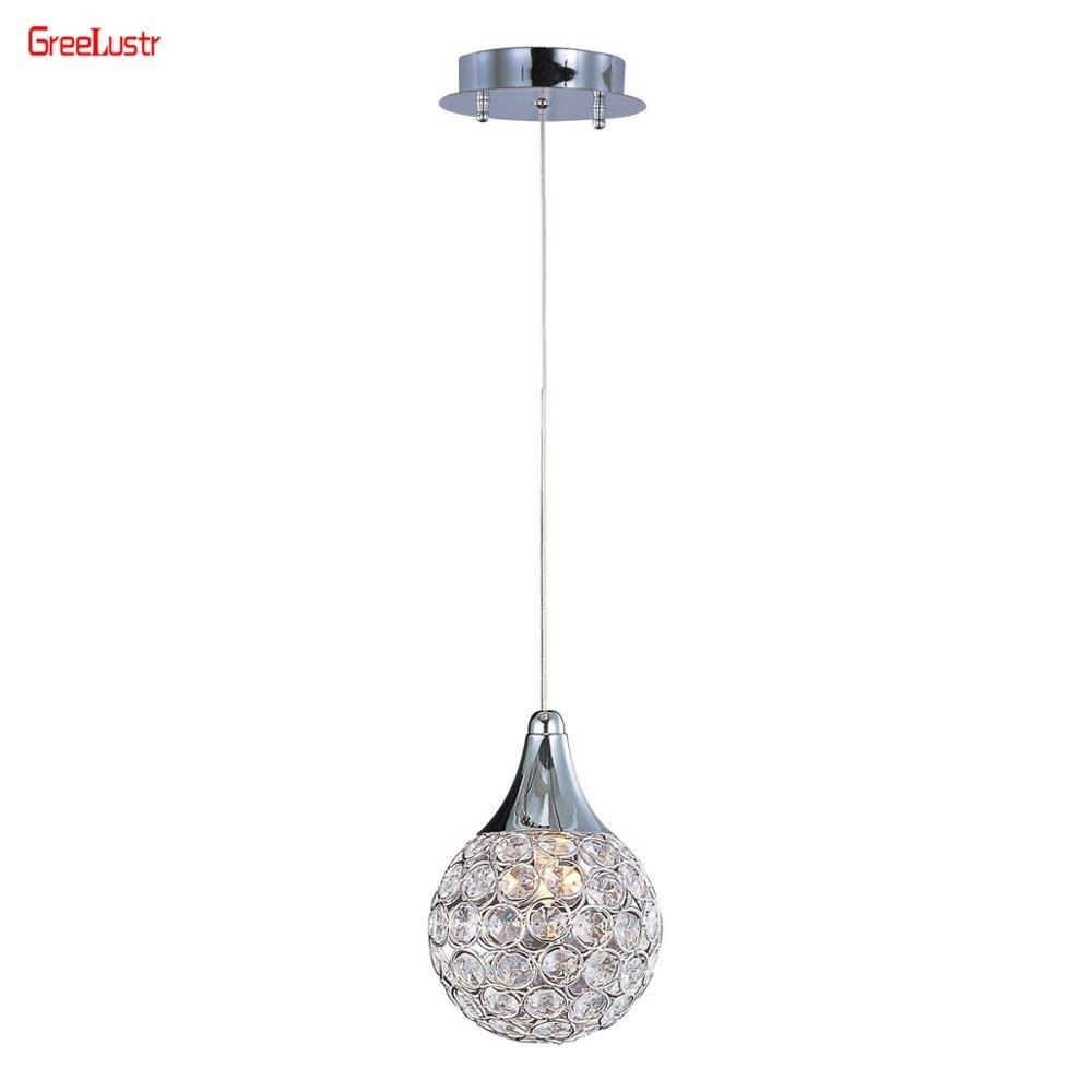 Modern Crystal Pendant Lamp Lights For Kitchen Hall Bar Dia15cm Round Ball Chandelier Pendant Haning Lamp Home Luminaire Fixture