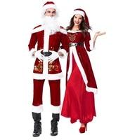 adult couple christmas santa claus costume cosplay costume santa claus costume xmas party dress for women men plus size 2xl