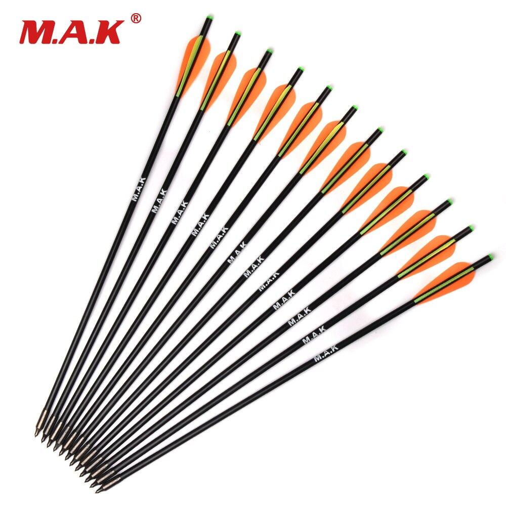 Flecha de Ballesta de fibra de vidrio de 17/20 pulgadas con diámetro de 8mm eliminar puntas de arquería objetivo de arco flecha para caza/tiro