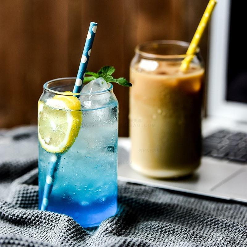 Taza Cola creativa de cristal transparente minimalista moderna taza Coreana de zumo de limonada copa de té de bebida redonda transparente