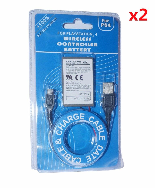 2 pces 3.7 v 2000 mah pacote + cabo do carregador usb para sony ps4 playstatoin4 dualshock4 controlador sem fio baterias recarregáveis gamepad
