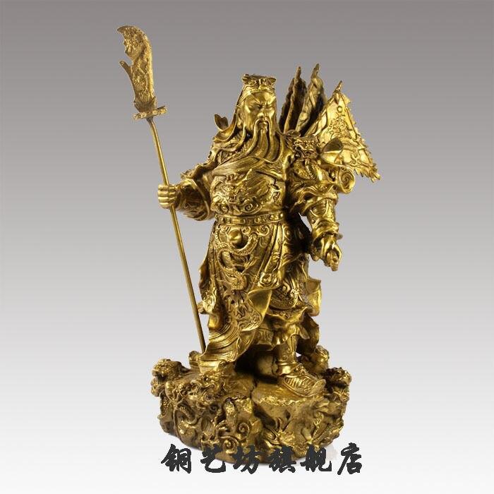 Envío libre 10''China bronce Guerrero Guangong mantener espada Guanyu dragón bandera estatua descuento 50%