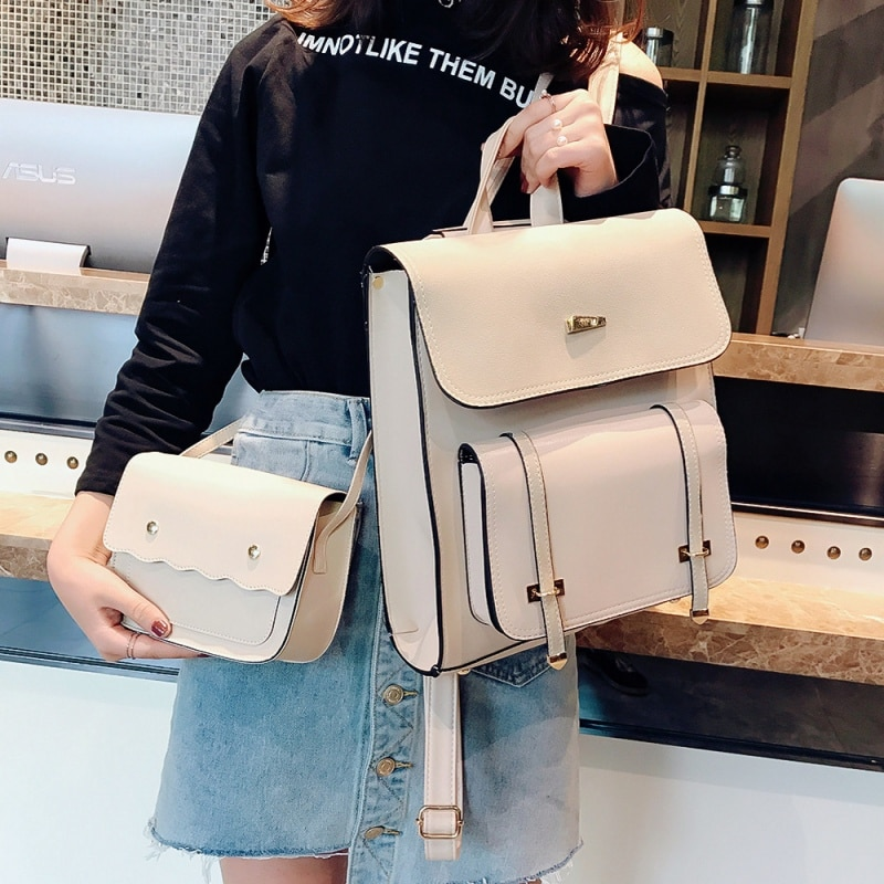 2 bags Fashion Women Backpack 2018 New High-quality PU Leather School Bakcpacks Large Shoulder bag Teenage Girl Travel Rucksack