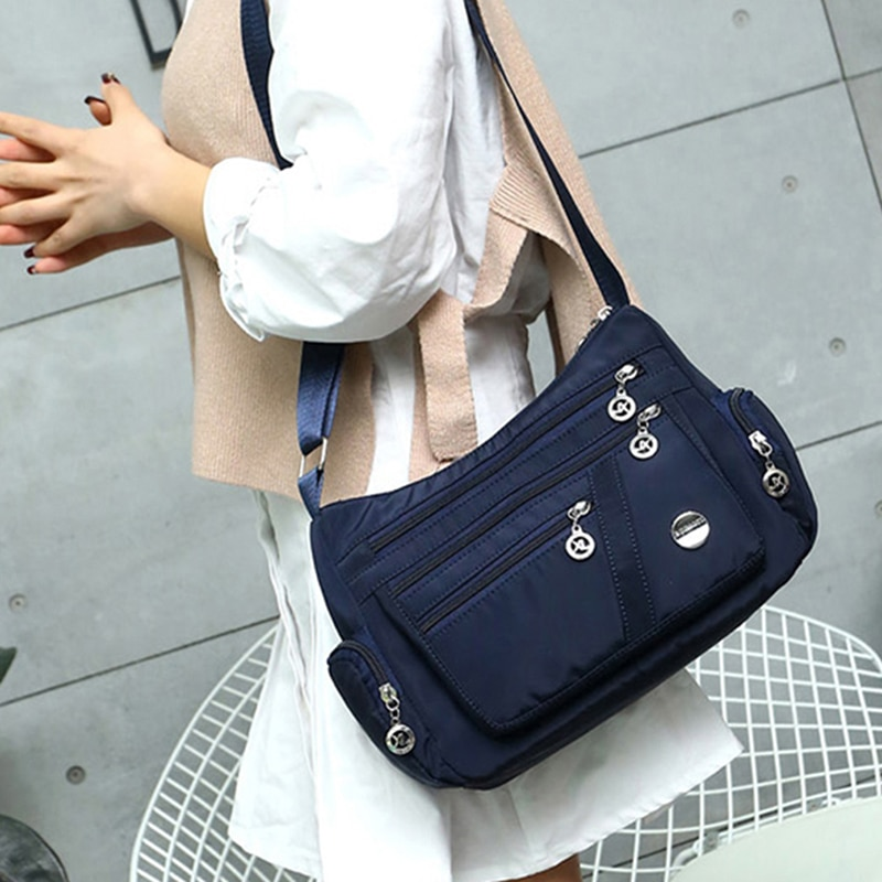 Multi-capa bolso de hombro Casual bolsos de lujo playa Casual bolso de Nylon, bolsos de mensajero, mujer bolso de bandolera