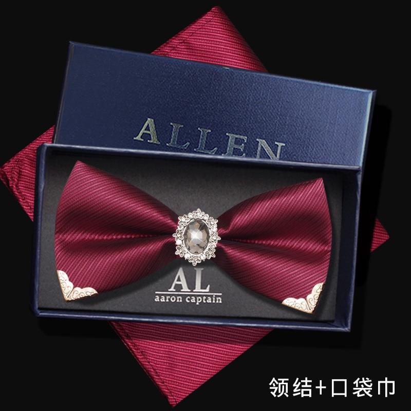 Free Shipping new Men's male man fashion Diamond Korean bow tie wedding red diamond groom gem red bow tie shirt