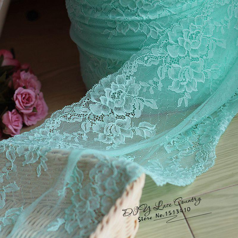 22cm wide 2 yds/lot, blue Handmade Hair Decoration Wide Elastic Stretch Lace Trim wedding dress skirt lace trim