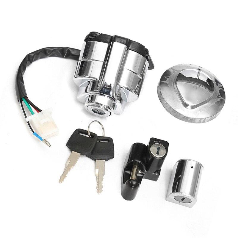 1 conjunto de bloqueio da motocicleta alumínio plástico interruptor ignição da motocicleta bloqueio para honda shadow vlx vt 400 600 750 peças acessórios