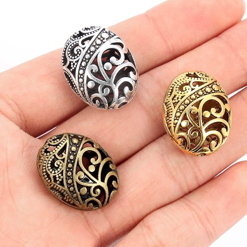 10 Uds. De abalorios espaciadores ovalados tibetanos de plata/bronce/oro para DIY, aleación, accesorios para pulseras, fabricación de joyería, 22x17mm