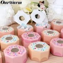 OurWarm 20/50pcs Wedding Candy Box Donut Party Decoration Gift Box Kids Birthday Favor Baby Shower Wedding kraft Gift Boxes