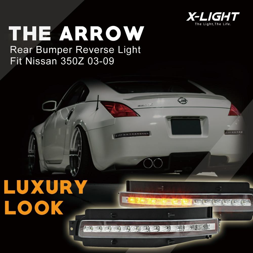 Para Nissan 350Z 07-09 claro lente LED señal de giro/respaldo/freno/luz trasera