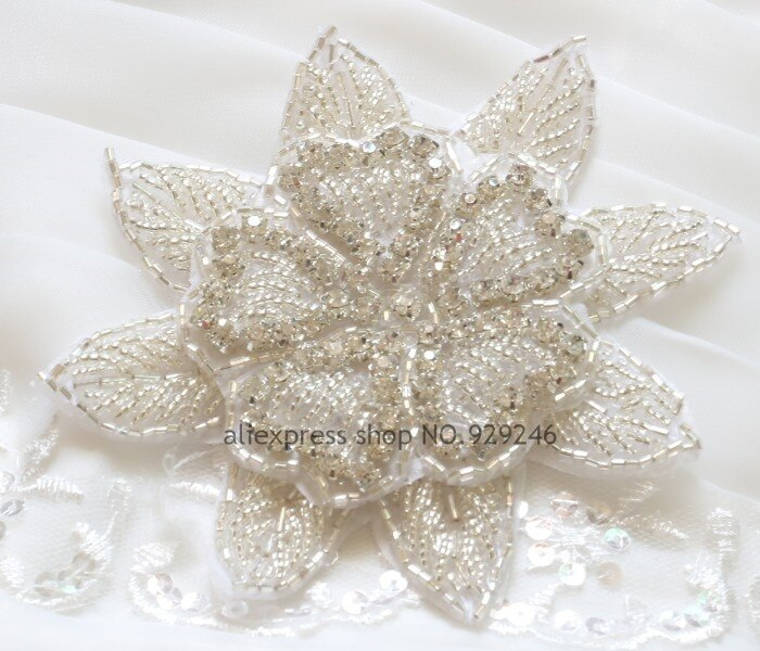 2 piezas/lote 11,5 cm adornos redondos grandes de flores cristal claro Diamante de imitación aplique dorado motivo de revisión para diadema vestido de novia