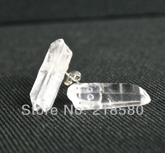 Pendientes de punto de cuarzo de cristal transparente H-CE19