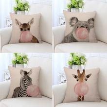 Creative Decoration Zebra Cushion Cover Koala Giraffe Blowing Bubbles Cute Animal Pillow Cases Bedding For Kids Bedroom Decor