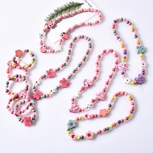 Cute Cartoon Wood Jewelry Beads Necklace Little Girl Baby Kids Princess Animals Necklace For Party D