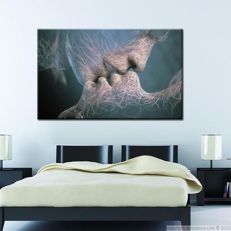 Pintura de Arte Abstracto amor beso pintura al óleo sobre lienzo arte pintura para pared de salón imágenes decorativas para casa regalo sin marco