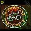 שלטי ניאון עבור Happy Hour אור ניאון סימן צפרדע Heathers בעבודת יד ארקייד ניאון הנורה מנורות מסחרי לקשט חדר ברור לוח