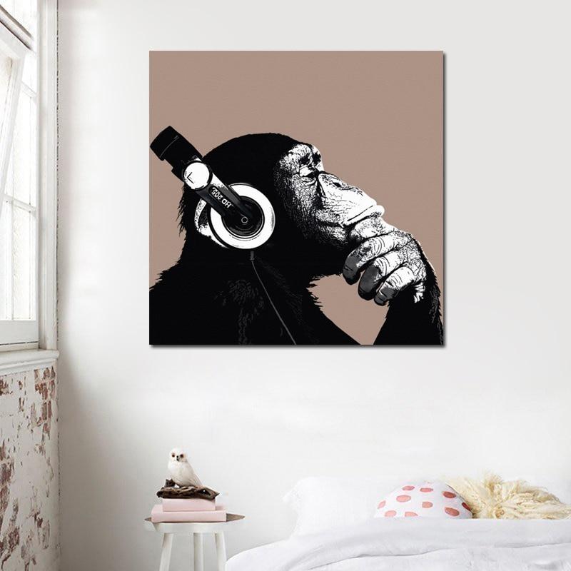 1 pieza de póster con auriculares negros Gorilla, lienzo impreso, cuadros de pared para pared de salón, arte decorativo sin marco