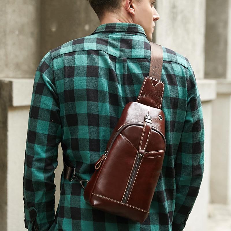 Promotions New arrival Fashion Leather chest Brand Men Shoulder Bag zipper Cow sling bag Male Crossbody