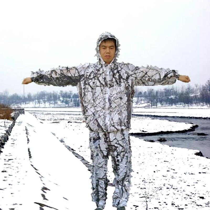Traje de invierno 3D con ramas de ciruelo de nieve blanca, Camuflaje, traje de ghillie, ropa de caza airsoft incluyen chaqueta y pantalones