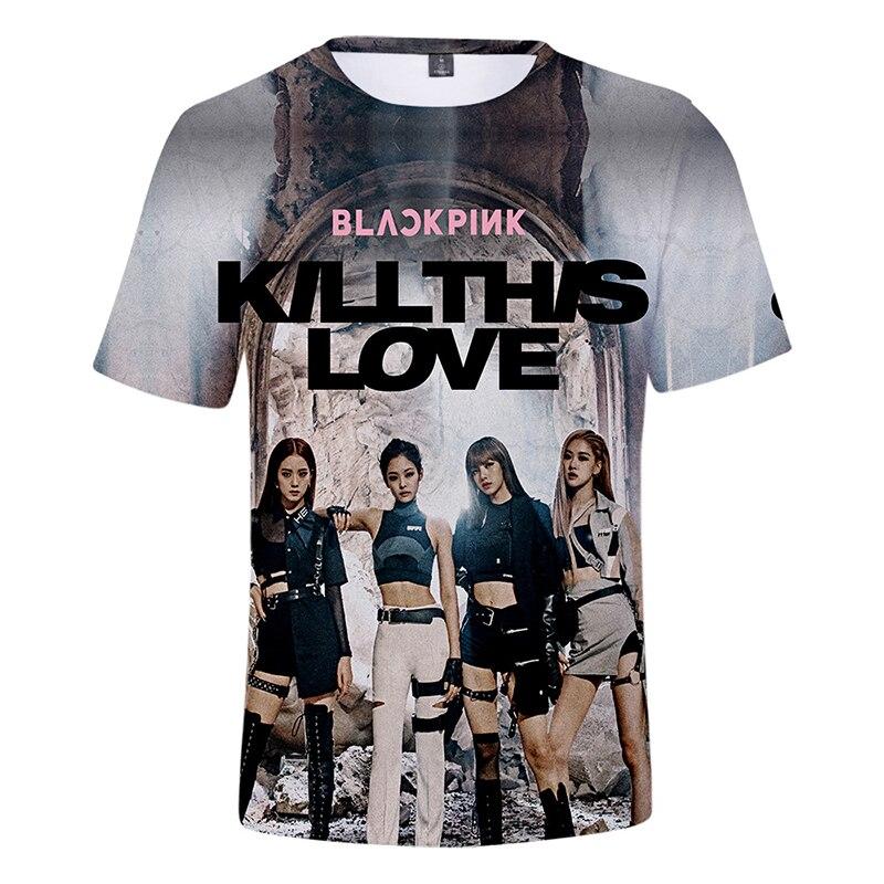 Летние 3d футболки BLACKPINK KILL THIS LOVE Kpop Модные мужские и женские футболки топы с круглым вырезом и коротким рукавом унисекс 3D футболки