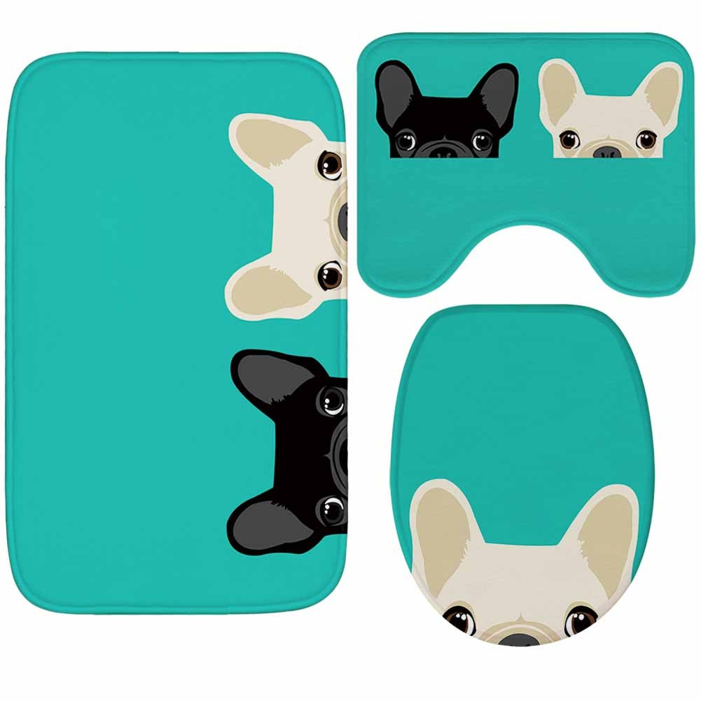 Honlaker Probe Dog Creative Bathroom Absorbent Mats Toilet Rugs Soft Flannel Bath Mat Set 3Pcs