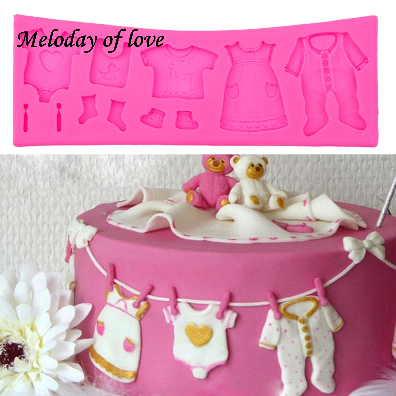 AliExpress - Hot Selling Pop 3D Baby Clothes Shower DIY Silicone Mould Fondant Kitchen Cake Decorating Mold for Chocolate Baking Tools T0534