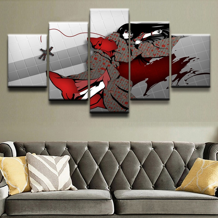 Cartel de animación de impresión HD cuadro sobre lienzo para pared para sala de estar decorativo 5 piezas Death Note Jigoku Shojo marco de fotos
