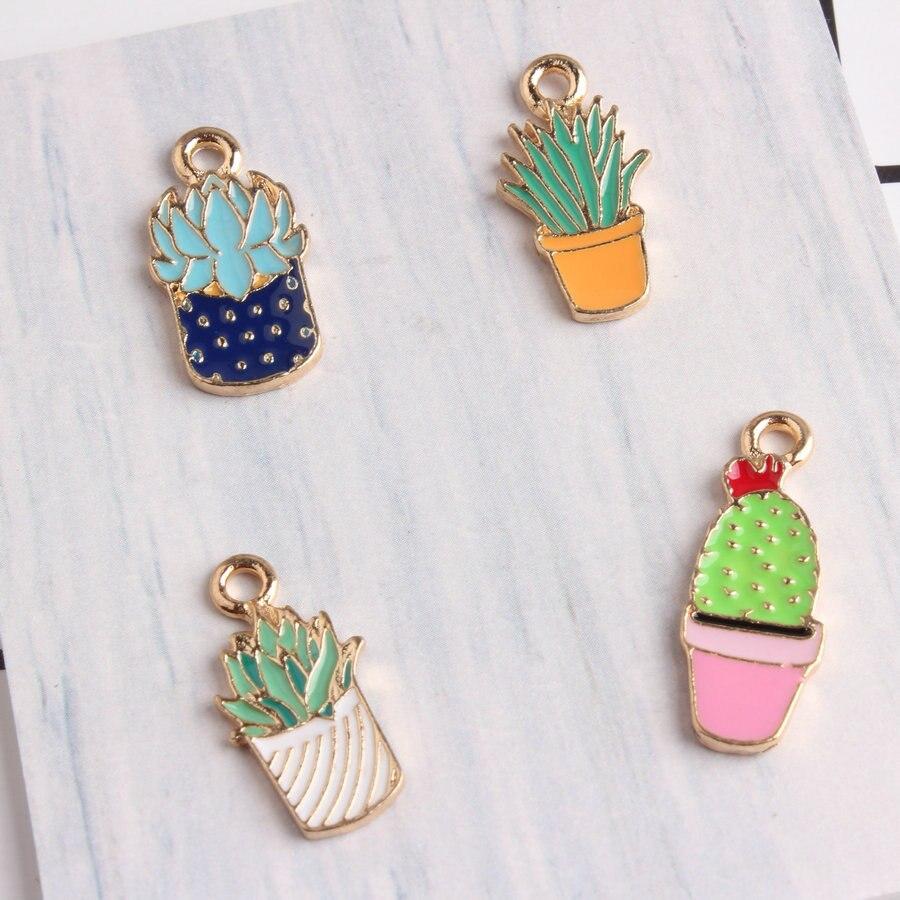 10 Uds./lote de abalorios de esmalte de pera de plantas suculentas adorables a la moda, pendientes de pulsera Diy, llaveros accesorios, dijes colgantes