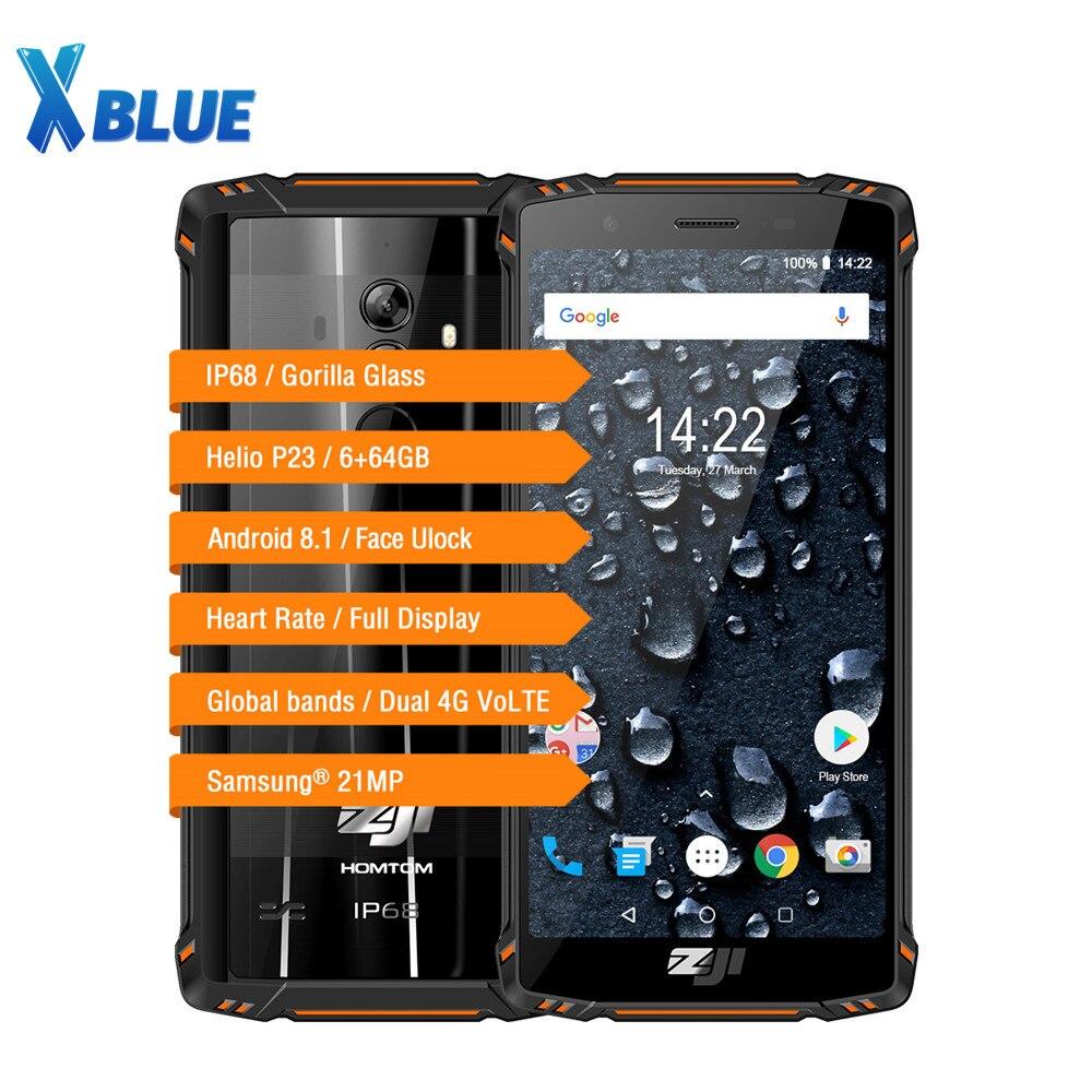 Homtom zoji z9 6 gb 64 gb ip68 5500 mah à prova dip68 água do telefone móvel freqüência cardíaca android 8.1 5.7 polegada face id impressão digital 4g smartphone