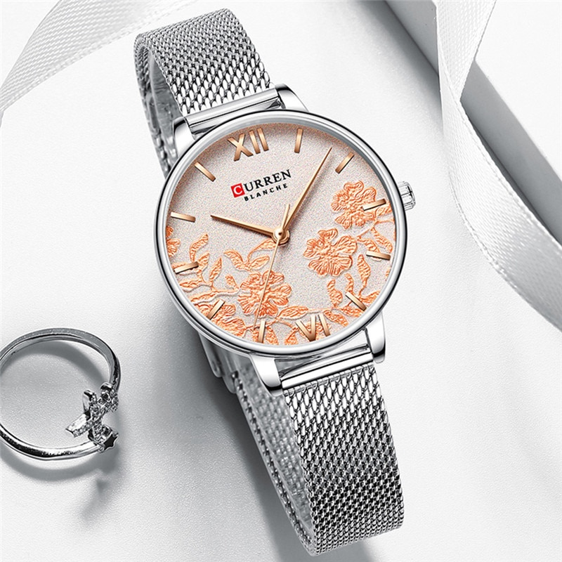 CURREN Stylish Women Watch Quartz Movement Silver Steel Mesh Strap Waterproof Rose Gold Flower Dial Ladies Luxury Clock Dropship enlarge