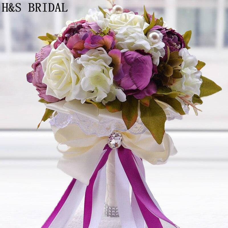 Peonía flor púrpura Rosa Chocolate Color Flor de dama de honor nupcial ramo de boda flor artificial rosa perla ramos de novia