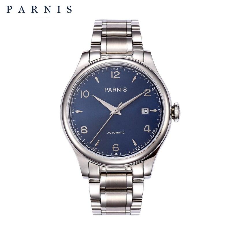 PARNIS, relojes mecánicos de 38mm, reloj automático completamente de acero inoxidable chapado en oro de 18k para hombre, Marca Top lujosa, reloj masculino 2019