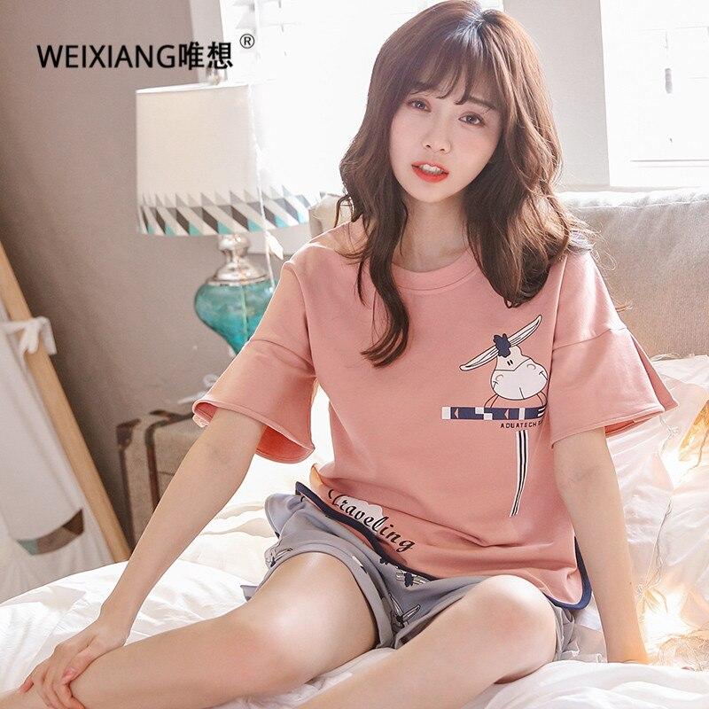 Weixiang Письмо печати короткий рукав Топ и полосатые шорты комплект пижамы дамы