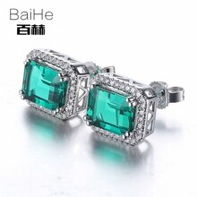 BAIHE argent Sterling 925 2.95ct certifié véritable traité émeraude fiançailles femmes bijoux fins émeraude boucles doreilles