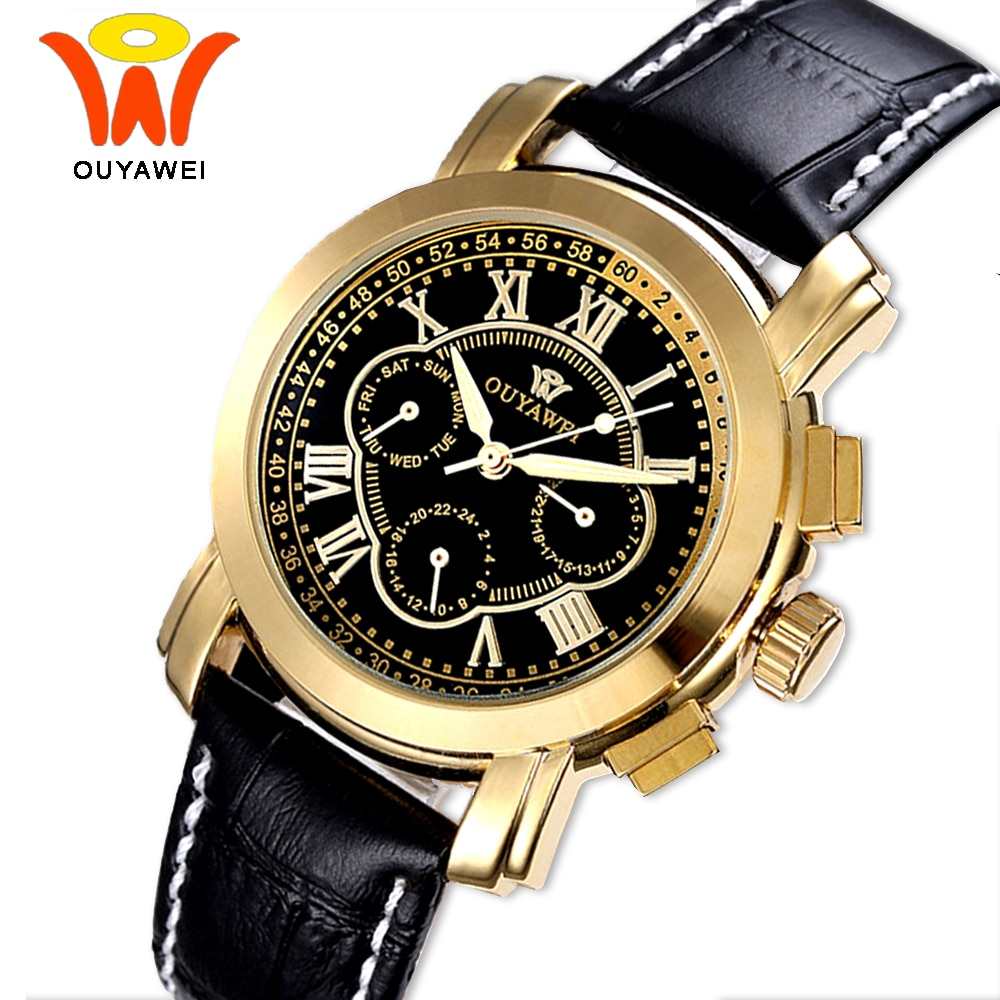 Ouyawei Luxury Automatic Gold Self Wind Auto Date Watch Men Mechanical Black Leather Relogio Automatico Masculino Wrist Wathes