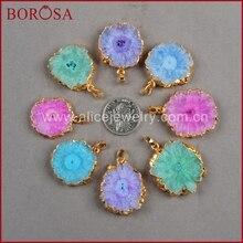 Color oro borosa arcoíris Solar cuarzo colgante cuentas, joyería drusa de alta calidad gemas cuarzo colgante para mujeres collar G0245