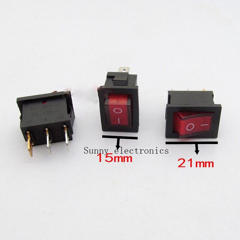 10 unids/lote, 3 pines, 6 A, 250 V, LED rojo, botón iluminado, interruptor basculante de importación, interruptores de alimentación basculante