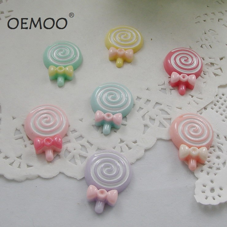 50pcs Mix Color Flatback Resin Candy Lollipop  Mixed Kawaii Flatback Resin Cabochons Miniature 21*30mm