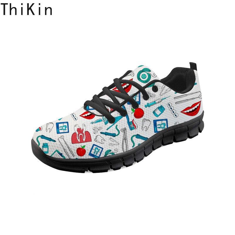 THIKIN, diseño de enfermera bonito, zapatillas de ortodoncia personalizadas, zapatos para correr para mujeres, zapatos planos informales transpirables, zapatos deportivos para caminar