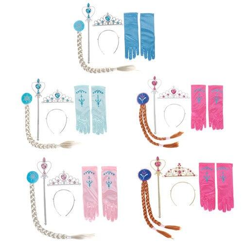 4 unids/set para Frozen Princess Elsa cabello de estilo Anna accesorios Peluca de corona + varita mágica guante Cosplay para niños vestir fiesta chica regalos