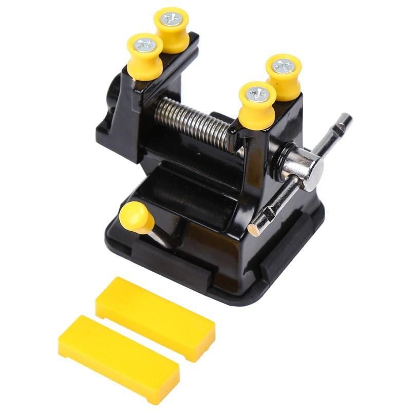 Multiusos Mini taladro de tornillo de succión prensa tornillo pinza para nuez banco de mesa Vice para joyería pinza Nuclear en herramienta de tallado DIY