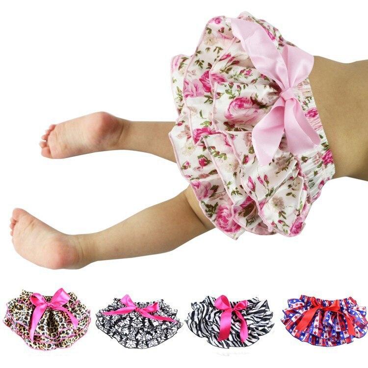 Satén Floral Bloomers del bebé capas cubierta de pañal de bebé recién nacido Pantalones de flores, niño lindo verano Pantalones con falda